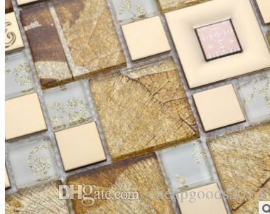 New easy to stick the golden maple leaf mosaic outside the TV background wall bar KTV decorative ceramic tile D-952