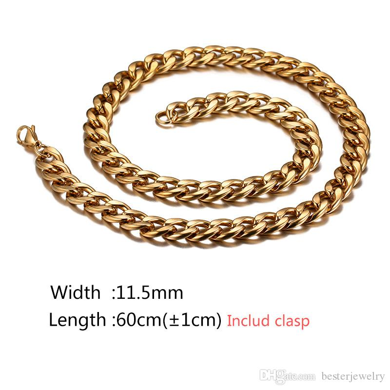 El más nuevo de alta calidad 18K chapado en oro 316L acero inoxidable Punk gran cadena de bordillo collar para hombres