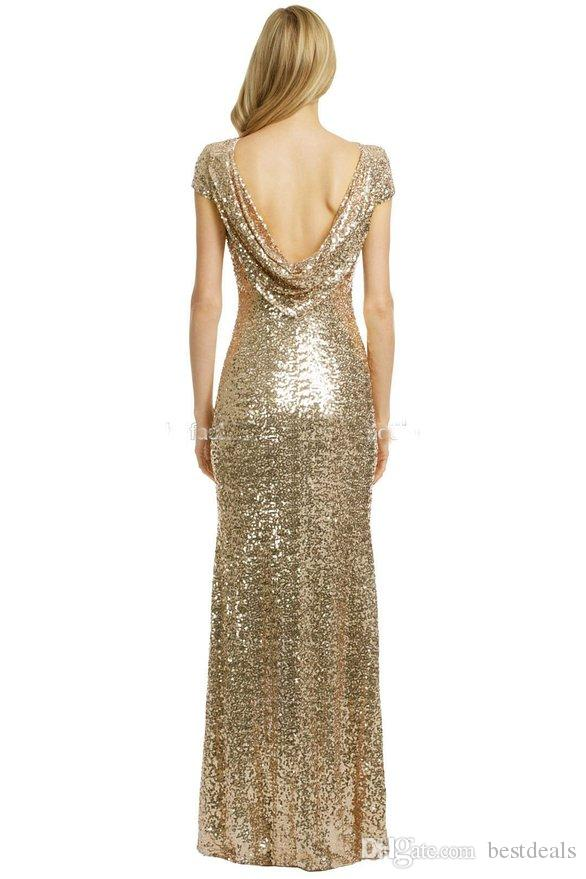 Champagne Gold Sequins Long Bridesmaid Dresses 2016 Sparkly High Neck Short Sleeve Backless Wedding Party Gowns Maid of Honor Dresses Junior