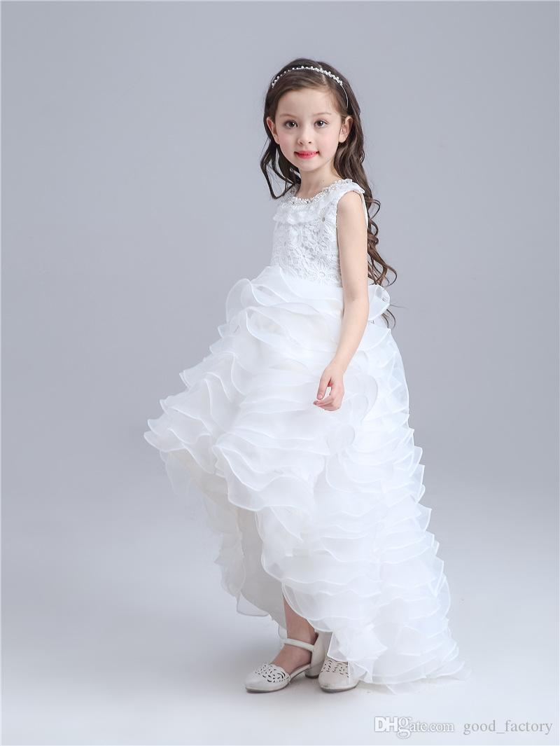 2016 wedding princess Flower Girl Dress party dresses banquet garment one-piece dress skirt clothes summer sleeveless clothing white red