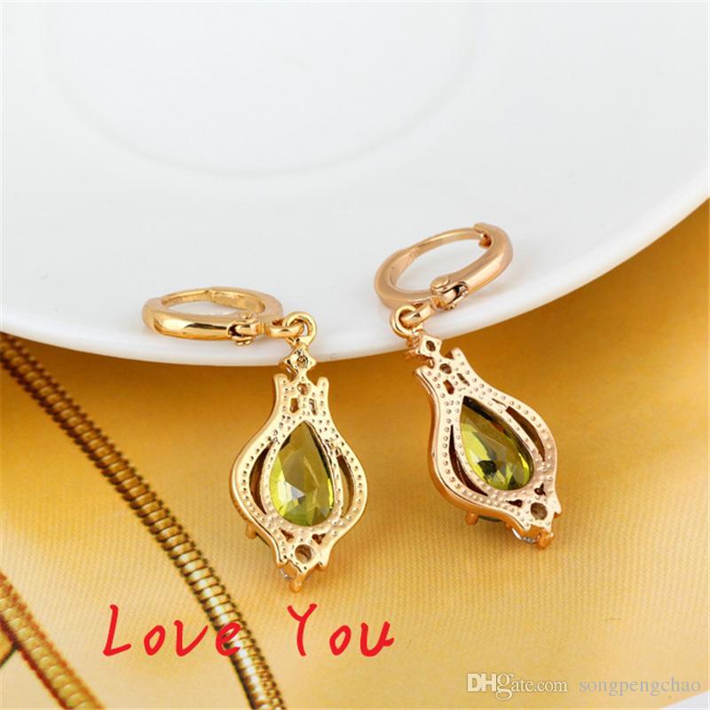 Hot Sale Vintage 18K Gold Plated Hoop Earrings Fashion CZ Crystal Dangle Earrings Long Jewelry for Women boucle d'oreille