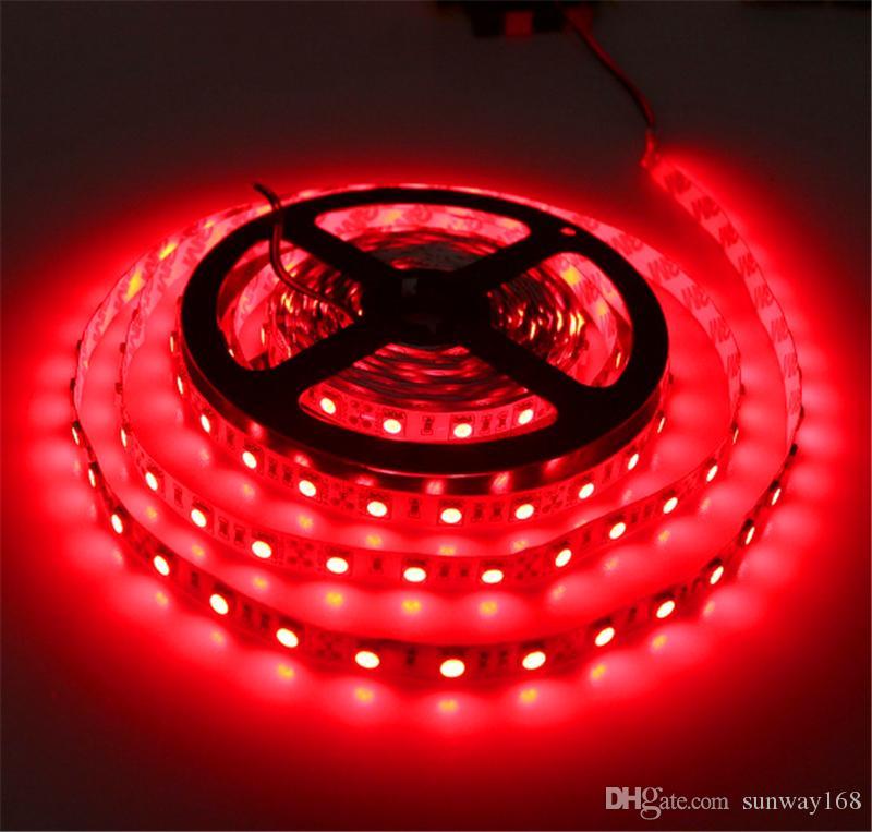 5M 5050 3528 5630 Led Tiras Luz morna Branco Vermelho Verde Azul RGB flexível 5M rolo 300 Leds DC 12V exterior fita impermeável