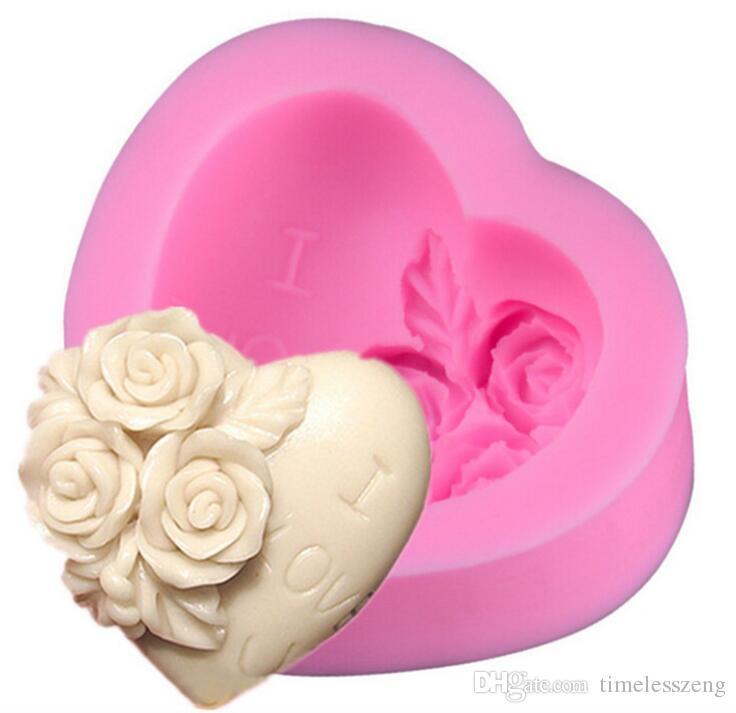 "DIY rose and heart shaped sugar fondant cake mold Handmade baking mold Valentine's day ""I love you "" cake maker"