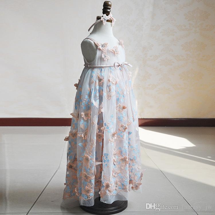 Blumenmädchen Kleid Blush Spitze Rüschen Schmetterling Muster Ballkleid Little Girl Geburtstag Party Kleider Abendkleid KD027