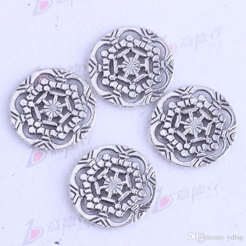 antiguos encantos de copo de nieve de plata / bronce flor colgantes tallados joyería de aleación de zinc DIY / 3461