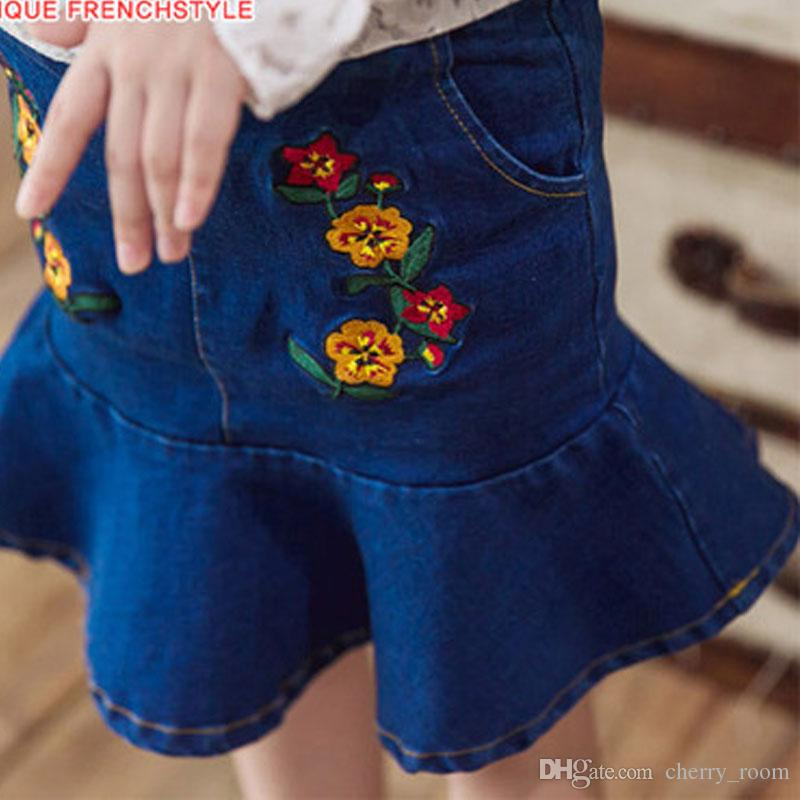 0556a92b52 Korean Girls Skirt Denim Skirts Children Princess Cute Slim Mini Dress  Flower Embroidered Jeans New Girl Big Kids Clothing Skirt Blue A7548