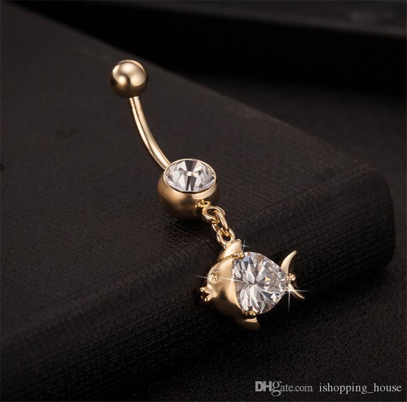 Vendita calda di alta qualità cristallo simpatico pesce navellina bar bell bottone anelli piercing ombelico corpo gioielli la giovane signora BR-047