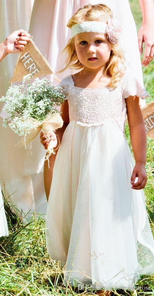 Boho Beach Flower Girl Dresses Weddings2016 Cap Sleeves White Ivory Lace Chiffon Girls Kids Formal Dresses with Sash First Communion Gowns