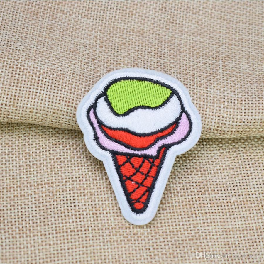 Melting Ice Cream Embroidery Patches for Clothing Bags DIY Iron on Transfer Applique Patch for Garment Sew on Embroidery Badge