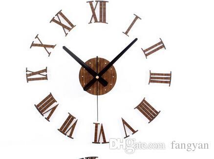 خمر الخشب الملمس 3D الأرقام الرومانية على مدار الساعة ، ساعة الحائط ديكور المنزل ، ديكور المنزل الخشب الشحن مجانا