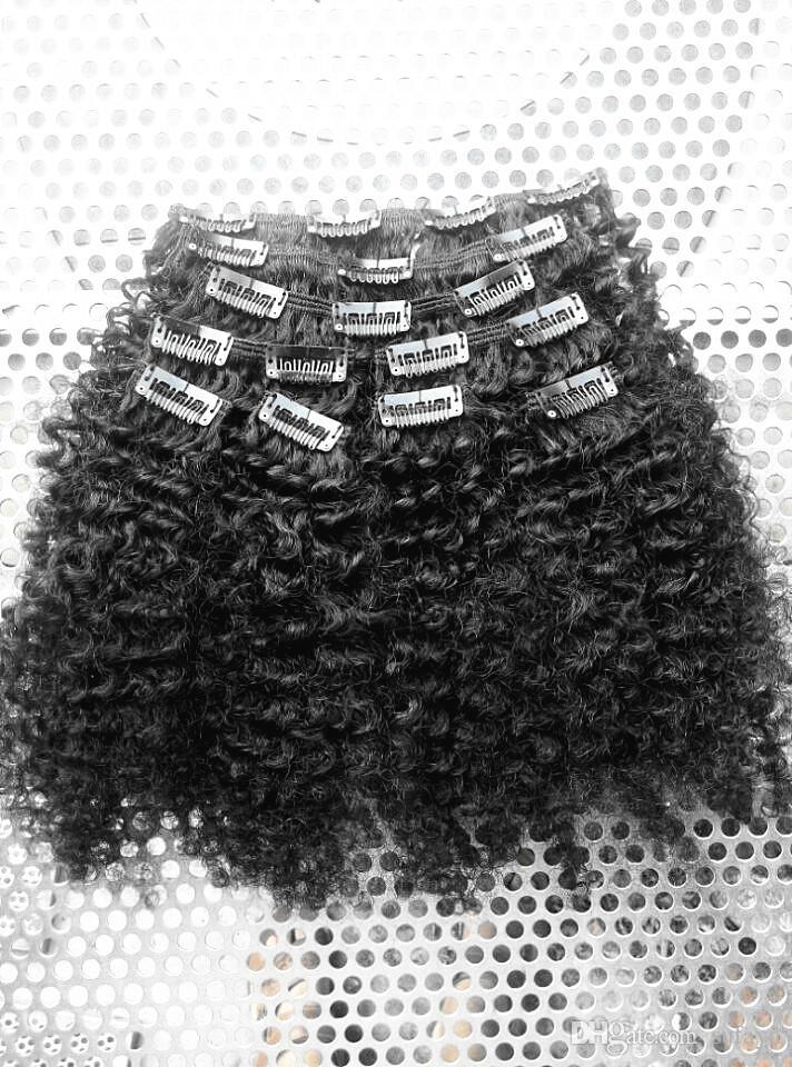 새로운 인간의 머리 확장 처리되지 않은 자연 블랙 / 브라운 컬러 에서 브라질 인간 버진 곱슬 머리 클립 도착 / 설정 아프로 비꼬 인 컬