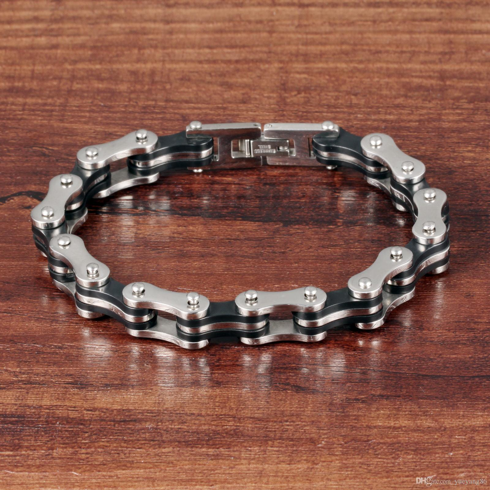 Прохладный байкер лучший друг подарок модные 316L из нержавеющей стали мужские женщины велосипед цепи браслет 9 мм 8,8 дюйма серебро золото черный