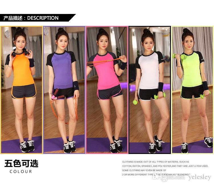 c4e4ffdf489e4 2019 T Shirt +Pants Sports Yoga Workout Clothes Short Sleeve T Shirt Quick  Drying Clothes Running Exercise Yoga Dance Clothes From Yelesley
