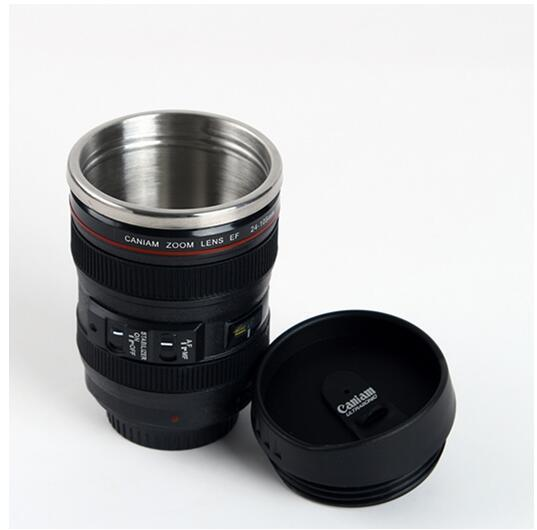 5 Generation stainless steel liner travel thermal Coffee camera lens mug cup 400ML Black DHL Free