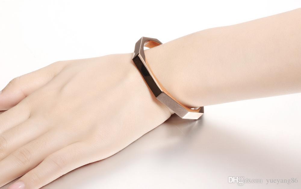 Coppia Jewely Donna Uomo New Fashion Acciaio inossidabile 316L Lovers 'Open Cuff Bangle Bracelet nero / oro rosa