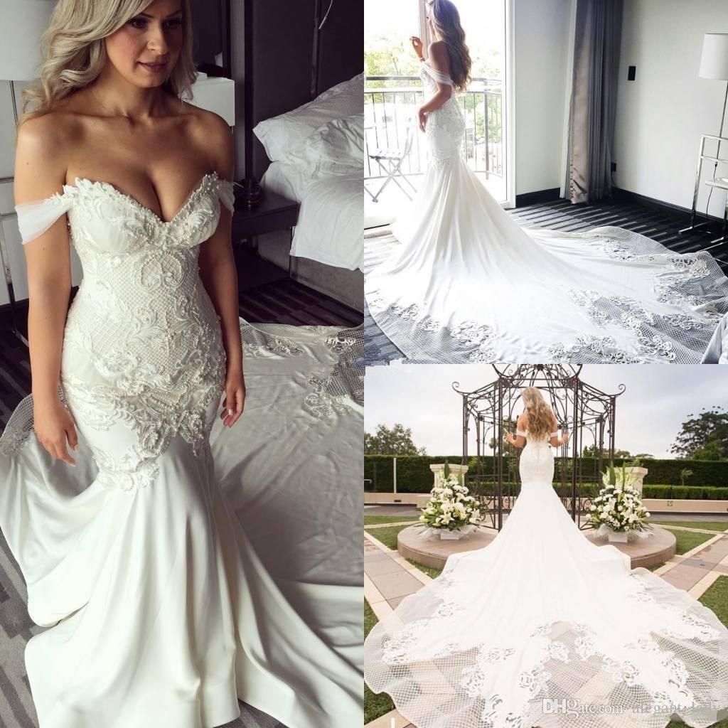 24c538fdf0879 New Design Off Shoulder Mermaid Wedding Dresses Pearls Backless 2017 Trumpet  Chapel Train Lace Bridal Wedding Gowns Vintage Plus Size Custom Mature  Wedding ...
