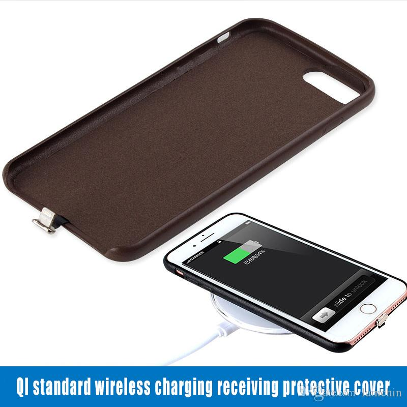 new concept 750aa 9edda Qi Standard Wireless Receiver Charger Case Phone Protection for iPhone 6 7  Plus with Retail Package