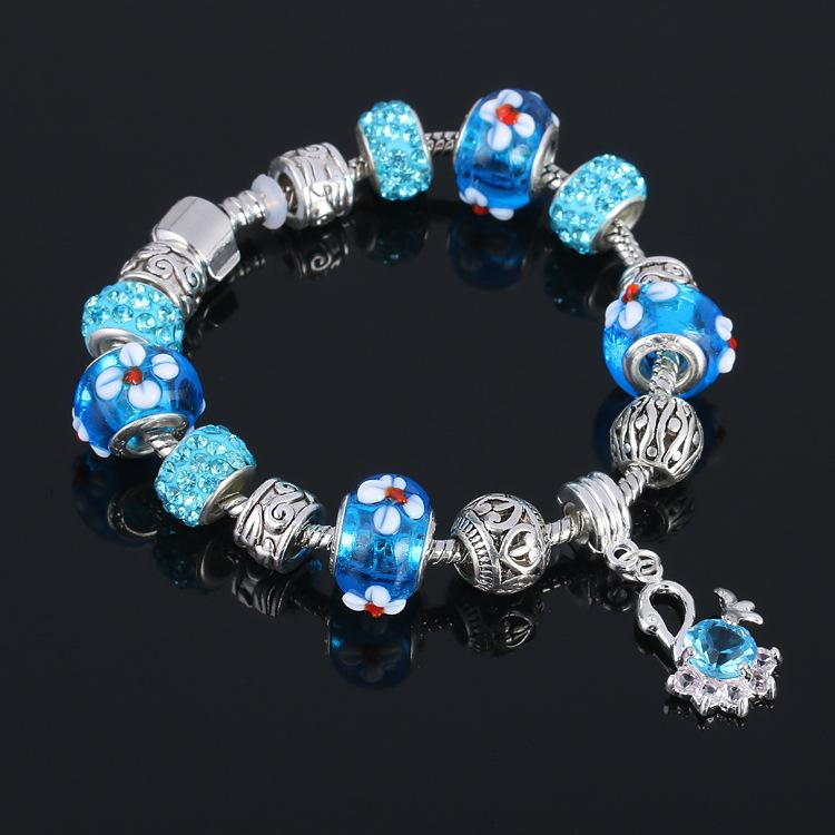 Colorful Glass Beads Bracelet Glaze Bead Bangle DIY Creative Crystal Natural Stone Beads Flower Bracelets Jewelry DHL Shipping