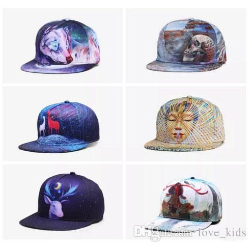 39067aaef41 New 3D Printing Deer Caps Pattern Sports Hats Baseball Cap Women Men Caps  Fitted Snap Fashion Hip Hop Caps 33 Styles 3D Printing Cap Adult Baseball  Cap ...