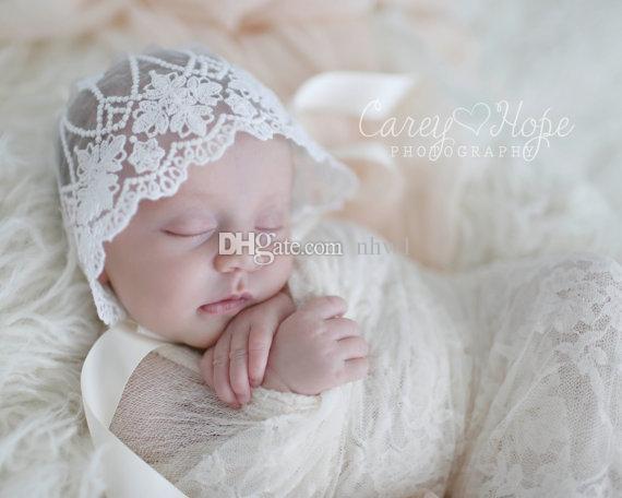 sombrero del cordón del bebé fotografía apoya la muchacha del muchacho los cabritos del niño precioso para bebé recién nacido Photo casquillos del sombrero del cordón colores sólidos