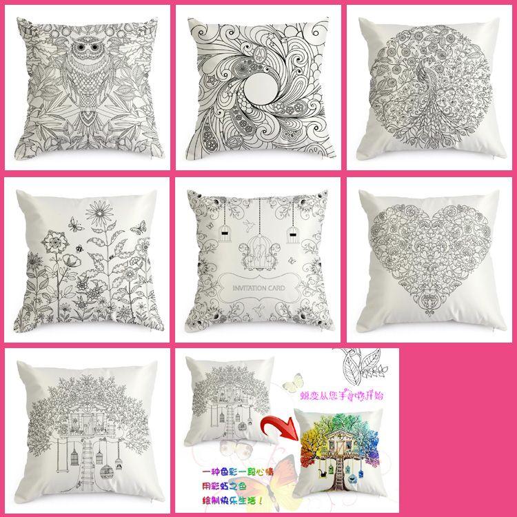 Hand Coloring Vintage Satin Cushion Cover Graffiti Pillow Case ...