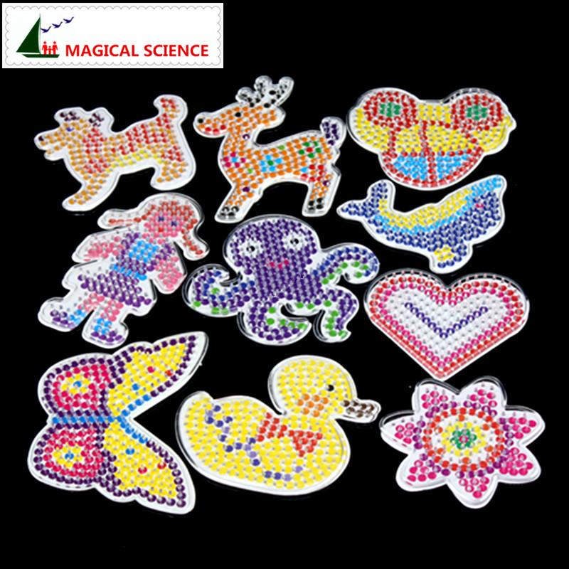 Wholesale- 10pc Puzzle Pegboards Patterns with colored paper For 5mm Hama  Perler Beads DIY Kids Craft Plastic Stencil child fuse bead Toys