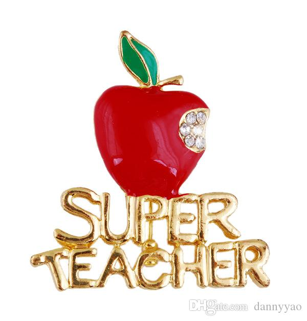 Brand New Gold Plated Super Teacher Brooch Pins Red Apple Brooches For Teacher's Day Gifts FBR048