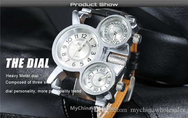 2016 남자 시계 럭셔리 스포츠 남자 가죽 시계 패션 석 영 손목 시계 디자인 3 디스플레이 시간 고품질 자동 남자 시계 럭셔리