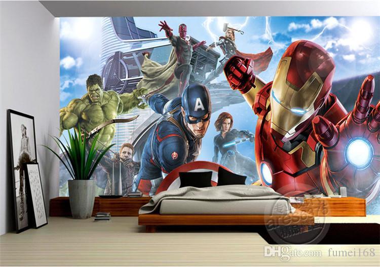 Avengers Garçons Chambre Photo Papier Peint Personnalisé 3D Murales Marvel Comics fond d'écran Chambre d'enfants Intérieur Design Room decor