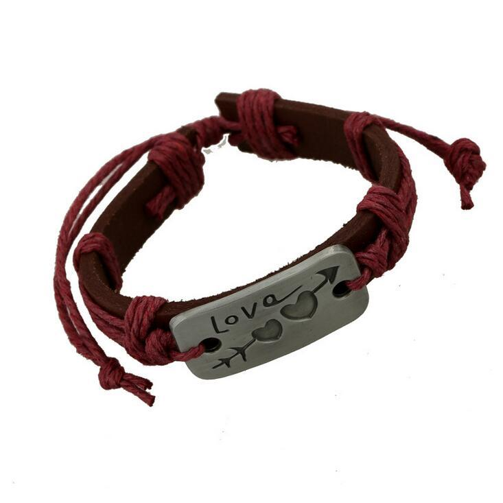 Men Leather Wrap Bracelet Hot Sale Handmade Alloy Charms Bracelets Wristbands Bangles Fashion Jewerly Wholesale 0384WH
