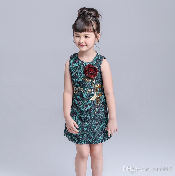 Compre Europa Moda Meninas Floral Jacquard Dress Crianças Sem Mangas Subiu  Lantejoulas Princesa Party Dress Crianças Roupas De Algodão Vestidos Verde  12106 ... 493fb18922e8