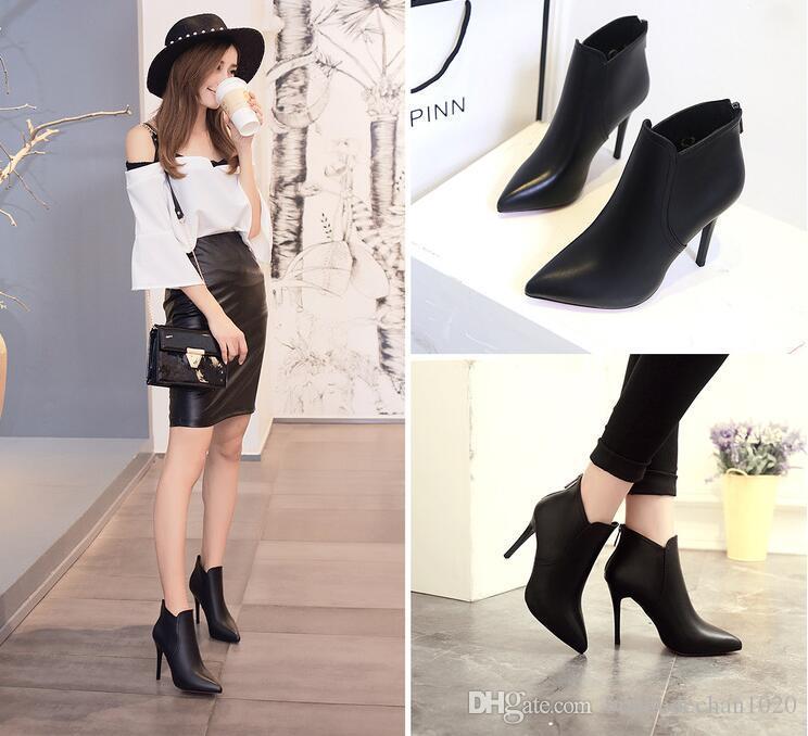 Stiefel Frauen 2016 Herbst und Winter neue schwarze spitze dünne Stiefel mit Baumwolle Stiefel nach High Heels Mode Schuhe