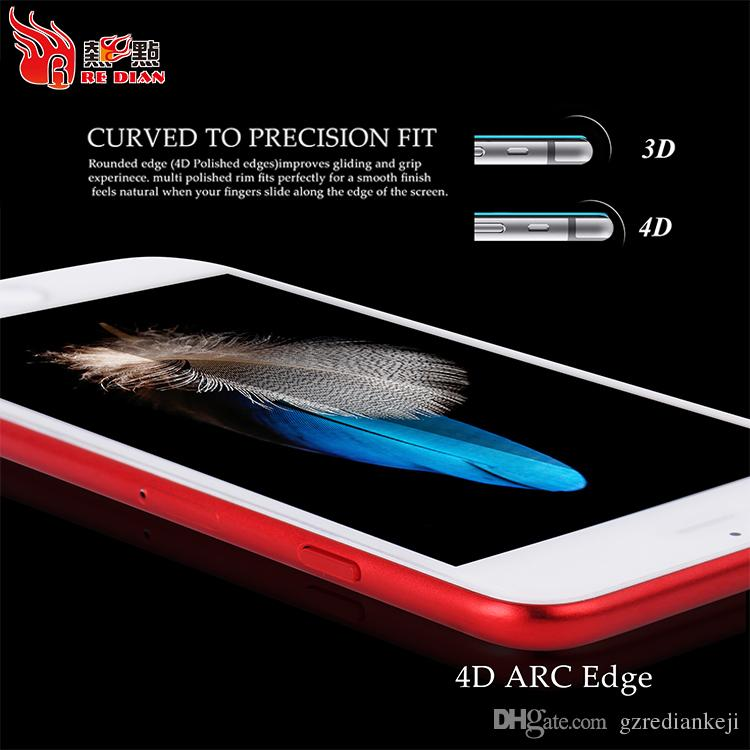 Top Quality Anti-fingerprints Guard 9H Hardness 4D Curved Edge Tempered Glass For IPhone 6 6S 6Plus 7 7S Screen Protector For Samsung S8