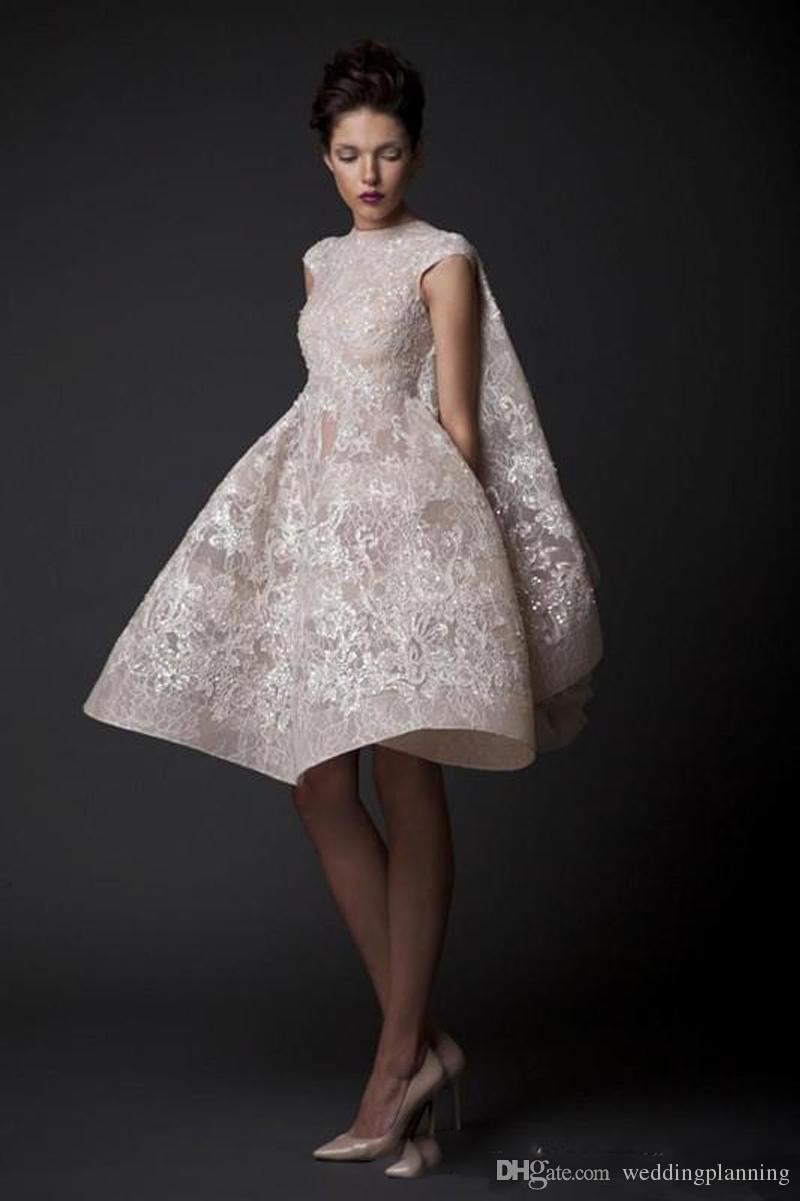 민소매 무릎 길이의 댄스 파티 드레스 Krikor Jabotian 패션 높은 목 스팽글 레이스 Applique 짧은 Organza 신부 가운 맞춤 제작 저녁
