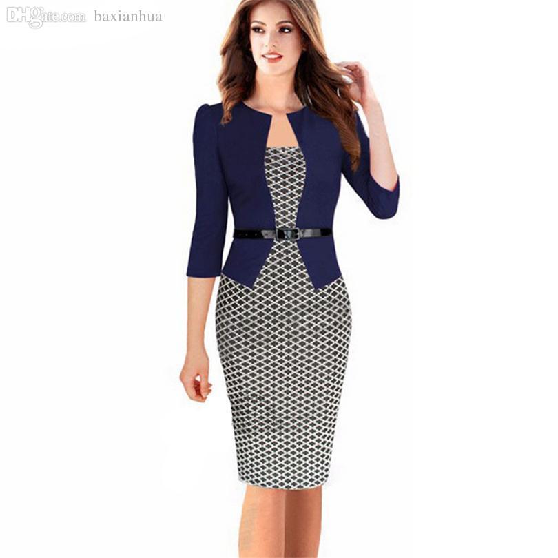 e393396f8c2 Compre Al Por Mayor Moda Mujer Vintage Faux Vestido De Dos Piezas Elegante  Señora Plaid Long Sleeve Pencil Dress Office Wear Outfits Plus Size S122 A   26.51 ...