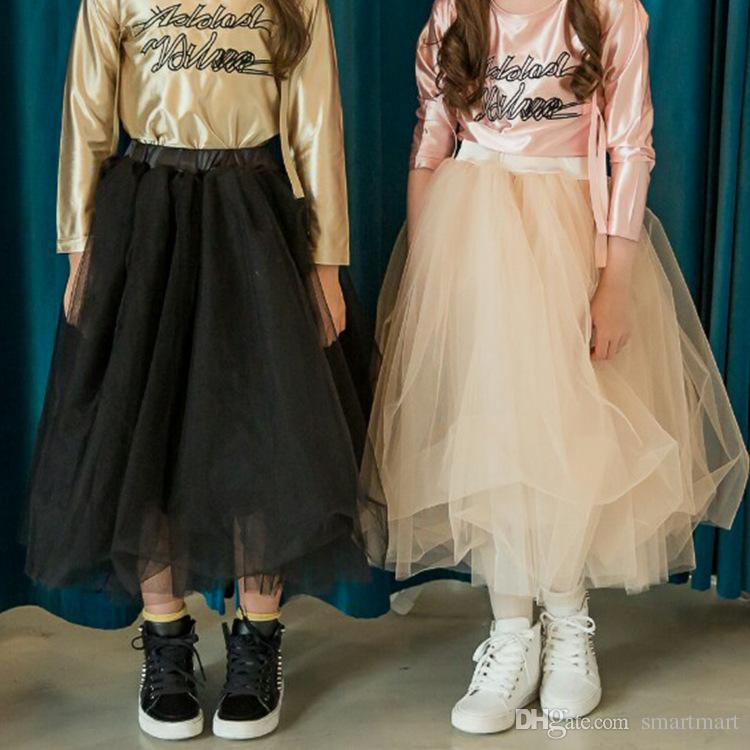 New Princess Kids Girls Tutu Long Skirts Ruffles Black And Beige Color Sweet Party Maxi Western Children Holiday Clothing