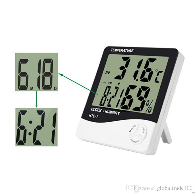 HTC-1 높은 정확도 LCD 디지털 온도계 습도계 실내 전자 온도 습도 미터 시계 알람 날씨 역 DHL