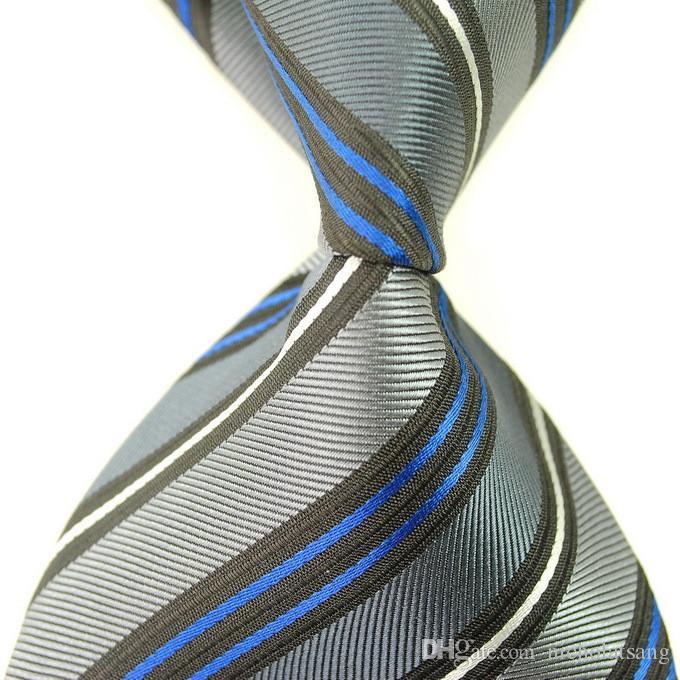 8 nuevos estilos de clásico a rayas de los hombres púrpura corbatas tejido jacquard 100% seda azul y el envío libre del lazo formal de negocios corbatas de los hombres blancos