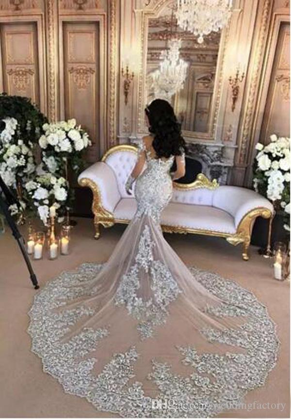 Sparkly Luxury Avtagbar Bröllopsklänning Arabic Mermaid High Neck Illusion Långärmade Beaded Crystals Lace Applique Brudklänning