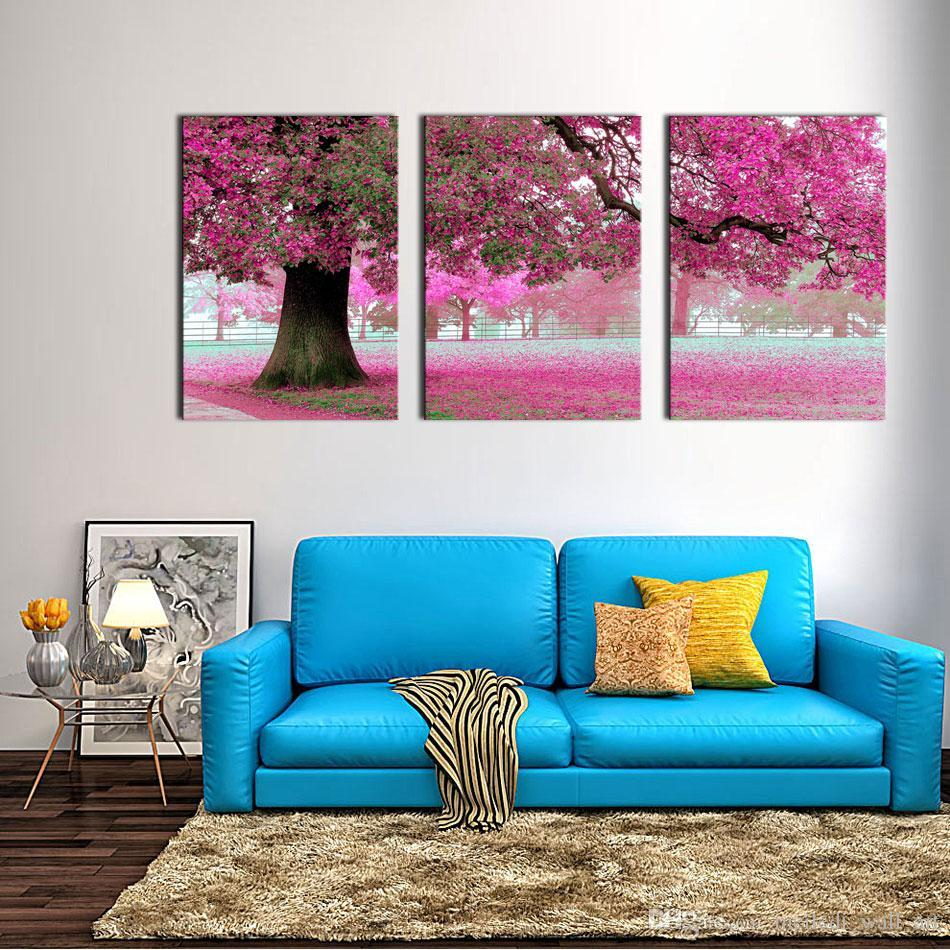 Canvas Print Wall Art Painting For Home Decor Purple Flowers At Tree 3 Pieces Panel Artwork The Picture For Living Room Decoration