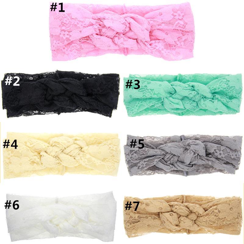 Fashion Baby Lace Headbands Girls Braided Hairbands Childrens Cross Knot Hair Accessories Head Wrap Lovely Infant Elastic Headband KHA273