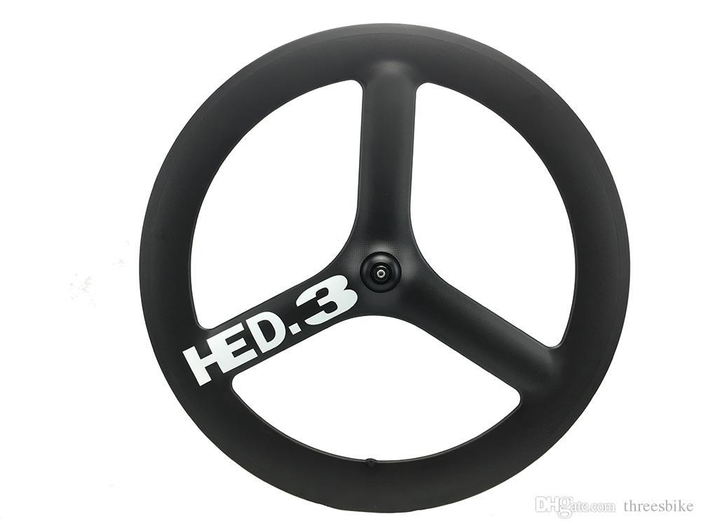 HED Carbon 3 Spoke Wheel 65mm Depth Clincher Tubular Carbon