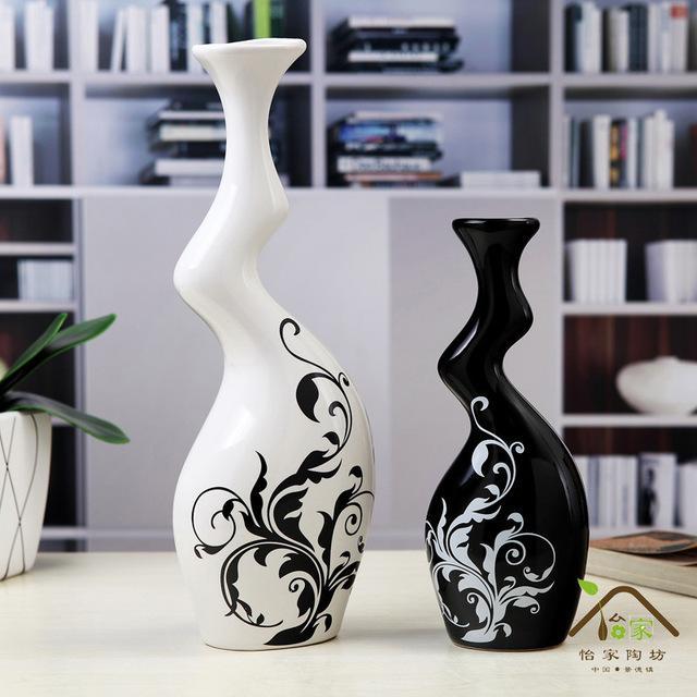 Black And White Couple Vase Modern Stylish Ceramic Vase Crafts