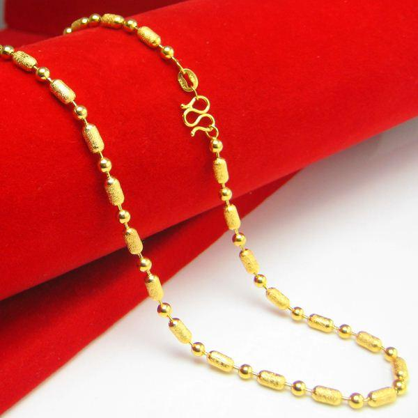 Don't rub off the gold necklace 24K Lu Tong Jinlu plating and beaded transport bead beads beads bead chain