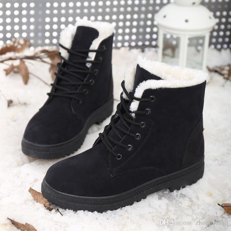 Stivali da neve da donna di alta qualità Stivali invernali da donna di moda in pelle con stivali di neve caldi di velluto Mujer Stivali da ragazza di Botas donna taglia US-4,5-10