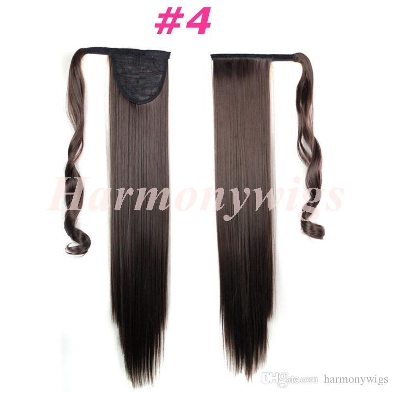 Ponytail sintetiche clip in su estensioni dei capelli coda di cavallo da 24 pollici 120g pezzi di capelli sintetici più i opzionali