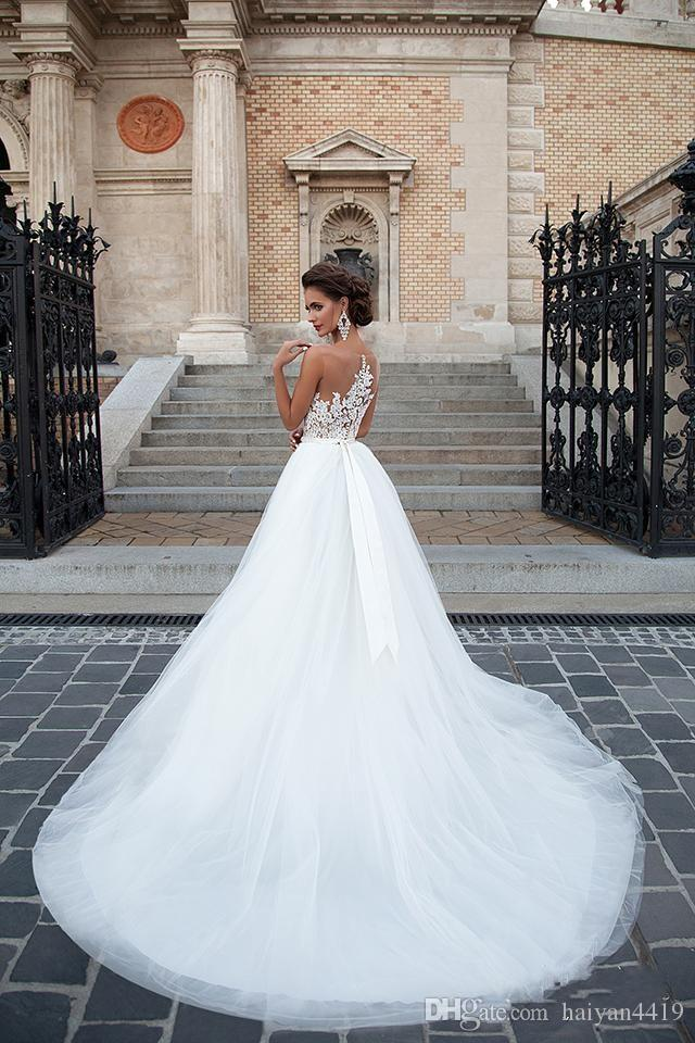 Milla Nova 2017 새로운 웨딩 드레스 A 라인 환상 넥 레이스 아플리케 크리스탈 스윕 트레인 쉬어 백 Tulle 플러스 사이즈 공식적인 신부 가운