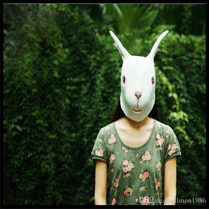 Hot Sell Party Cosplay Fashion Latex Sika Long-eared Rabbit Head Mask for Halloween Masquerade Parties Costume Ball heater Prop Crazy Mask