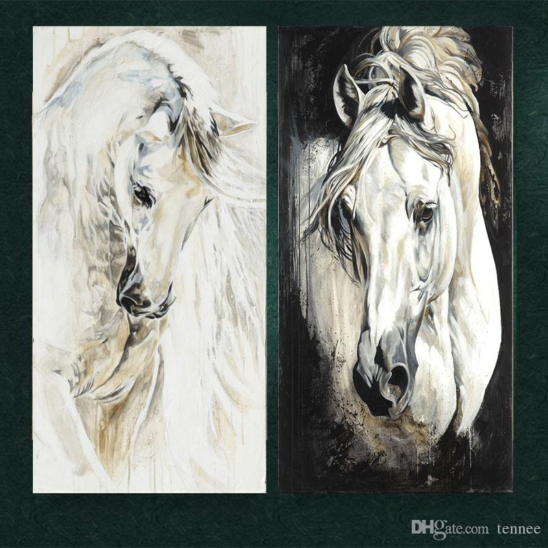 Unframed Black and White Painting Wall Pictures Modern Canvas Paintings White Horse Abstract Printed Painting For Living Room Decor