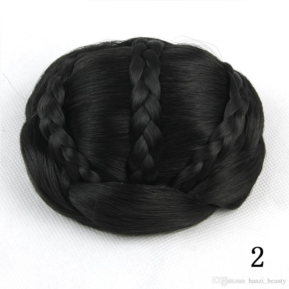 hanzi_beauty Synthetic Hair Piece Braided Chignon Clip In Hair Bun High Temperature Fiber Donut Hair Rollers